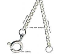 Silver Diamond Cut Curb Pendent Chain
